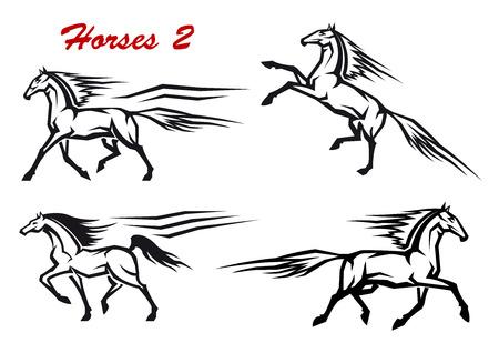 trotando: En blanco y negro caballos iconos en movimiento que muestran un caballo, el alzarse, trote, galope y paso a paso para la doma de alta
