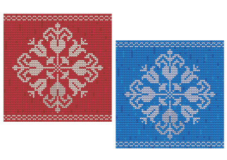 vintage pattern background: Red and blue detailed snowflake knitted pattern