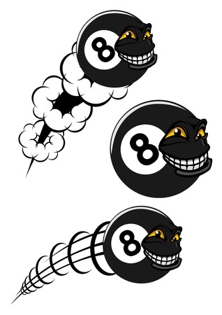 Victorious number 8 billiard ball icons flying with a grinning faces, two speeding through the air with motion trails, black and white vector illustration Vectores