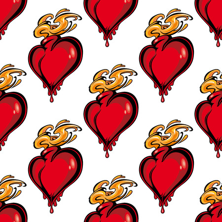 flaming heart: Seamless pattern of a repeat motif of a red flaming melting heart in square format symbolizing love and passion