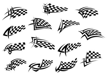 bandera carrera: Competir con la bandera a cuadros iconos del deporte en blanco y negro, para el diseño del tatuaje, la ilustración vectorial aislados en fondo blanco