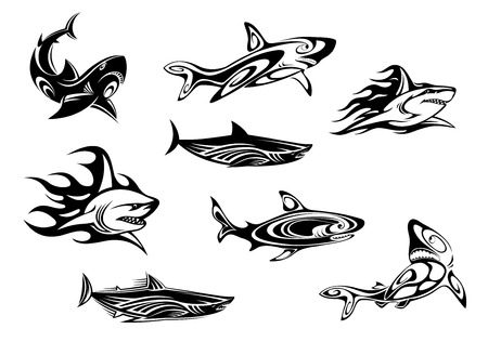 Fierce shark icons swimming underwater, some trailing flames, in black and white vector illustrations for tattoo or mascot design