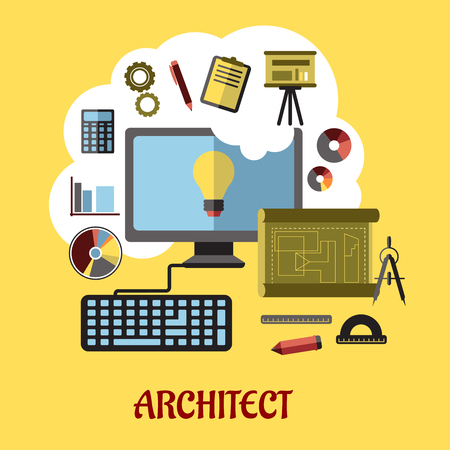 Architect or education flat concept with a vector illustration of a desktop computer surrounded by icons of drawing board, blueprint, graphs, calculator and a light bulb on the screen Vector