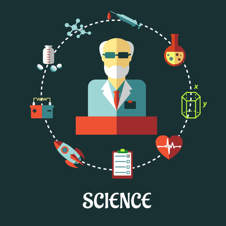 sciences: Different sciences flat  concept with the silhouette of a scientist surrounded by medical, biology, space, mechanic, geometry and scientific icons in a circle, vector illustration Illustration