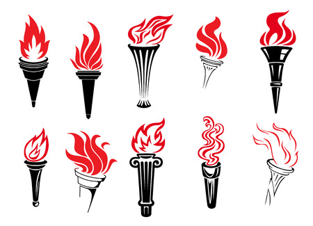 torch flame: Set of burning torches icons in vintage style suitable for sport or antiquity themes with various shaped holders and flames in red and black, vector illustration on white