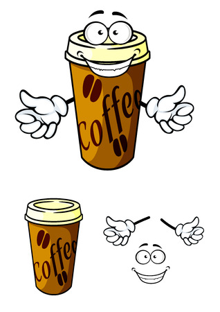Takeaway cup of coffee in cartoon style for fast food or cafe design Illustration
