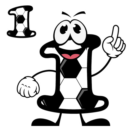 numeration: Cute number 1 with a black and white pentagonal pattern resembling a football or soccer with a happy face waving at the viewer with a second plain variant, cartoon illustration on white