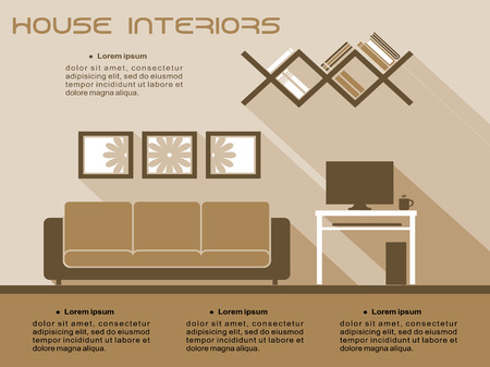 space television: Living room interior vector infographic template in shades of brown and beige with a sofa, television and bookcase with space for text Illustration