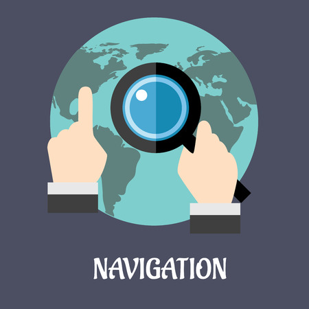 specific: Navigation or search flat concept with a man using a magnifying glass on a world map to navigate to a specific destination, vector illustration