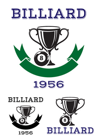 8 ball billiards: Billiard ball icons or emblems with a trophy and number 8 ball above a ribbon banner with date, or with banner, and text Billiard