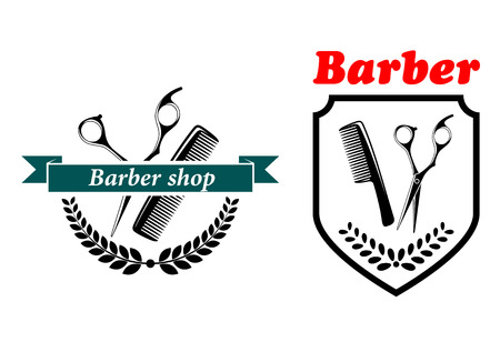 Barber Shop emblems or labels depicting a comb and scissors with text, one in a shield and the other with a ribbon banner and wreath, vector illustration on white  イラスト・ベクター素材