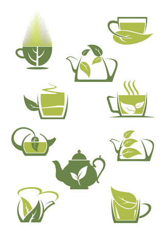 ceylon: Green or herbal tea icons set showing cups, mugs and teapots entwined with green organic or bio leaves, vector illustration on white Illustration