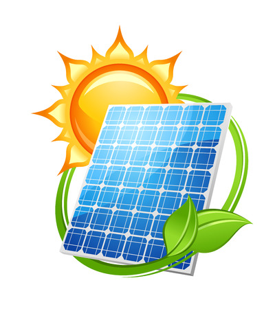 Solarenergie und Energiekonzept, um die Umgebung mit einem Photovoltaik Solar-Panel unter einer heißen Sonne mit grünen Blättern umgeben speichern, Vektor-Illustration auf weiß