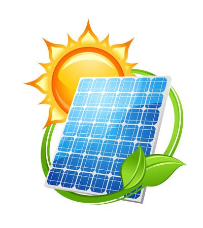Zonne-energie en energie-concept voor het milieu met een fotovoltaïsch zonnepaneel opslaan onder een hete zon omringd met groene bladeren, vector illustratie op wit