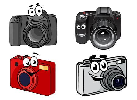 表示のポイントと撮影、笑顔がコンパクトでプロフェッショナル デジタル一眼レフ デジタル カメラの漫画、ベクトル イラスト白