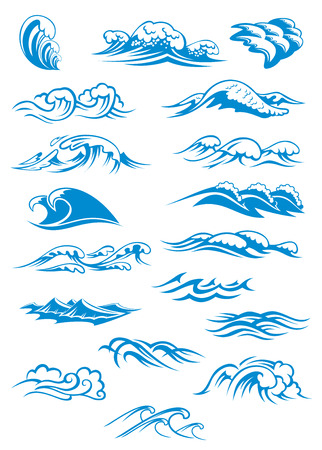 blue waves vector: Nautical or marine themed set of blue breaking ocean waves in different design elements, vector illustration on white Illustration