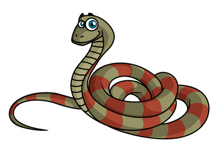 python: Cartoon striped snake in green and brown colors isolated on white, vector illustration