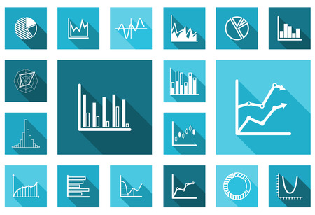stock illustrations: Flat charts and graphs set in different variations for business design