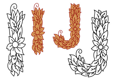 foliate: Floral and foliate uppercase alphabet letters I and J with leaves for organic, eco or bio concepts in a black and white outline and brown color variant, vector illustration and font Illustration