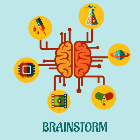 Creative brainstorming flat concept design with elements depicting research in medicine, science, technology and business Vector