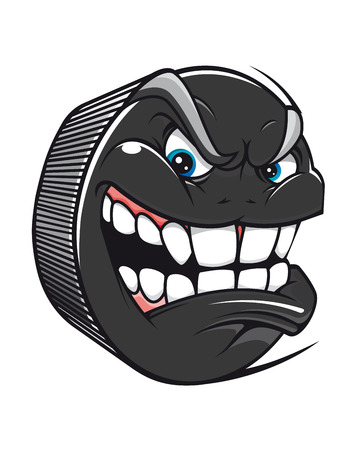 hockey goal: Cartoon vector hockey puck with an evil toothy grin glaring at the viewer