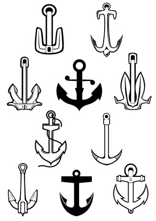 anchored: Marine or nautical themed set of ships anchors icons in various shapes in black and white, vector illustration Illustration