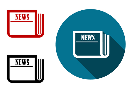 folded newspaper: Flat round news icon with a folded newspaper on a blue circle with two extra color variants, vector illustration
