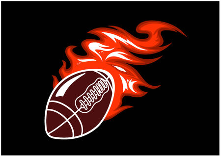 Flaming rugby ball speeding through the air with a motion trail of flames, vector illustration on black Vector