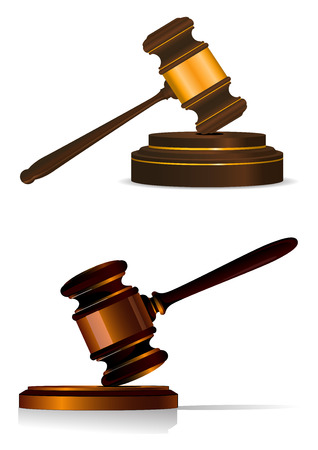 plinth: Judge or auctioneers gavel resting on a wooden plinth in two shapes, vector illustration on white