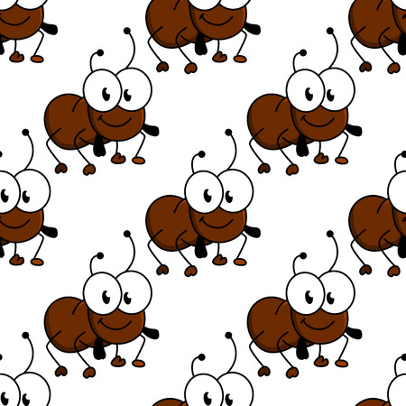 Cute little cartoon ant seamless background pattern with a smiling face and googly eyes in a repeat motif Vector