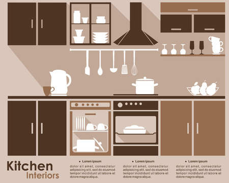 Kitchen interior infographic template in flat style with built in appliances, cabinets, utensils, and contents in the dishwasher and oven in shades of brown with copyspace for text Vector