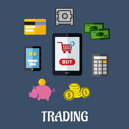 online trading: Online trading flat concept with a shopping cart on a tablet screen surrounded by various payment options including various forms of cash, a safe and a bank card, vector illustration