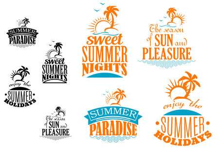 sunshine: Set of Summer vacation icons depicting sunshine, palm trees and tropical islands with various text in blue and orange with a second black and white set, vector illustration on white