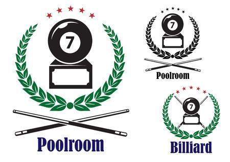 Einsatzzeichen: Billiard oder Pool Abzeichen oder Embleme, die die Nummer 7 Ball in einem Kranz mit gekreuzten Hinweise und Textpoolraum oder Billiard, Vektor-Illustration auf wei�
