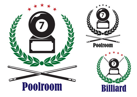 cues: Billiard or pool badges or emblems showing the number 7 ball in a wreath with crossed cues and text Poolroom or Billiard, vector illustration on white Illustration