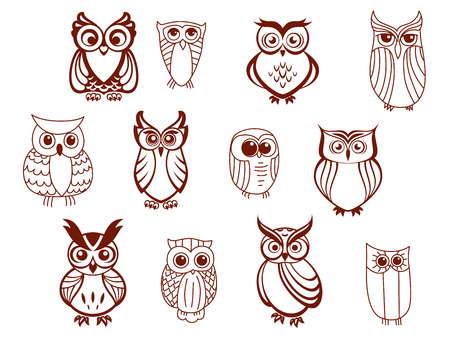 Set of line drawn cartoon vector owls characters with cute expressions and large eyes in brown and white Vector