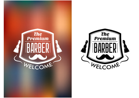 The Premium Barber welcome sign with the text and a moustache enclosed in a frame flanked by two shaving brushes in two variants on a white and mottled background, vector illustration Illustration