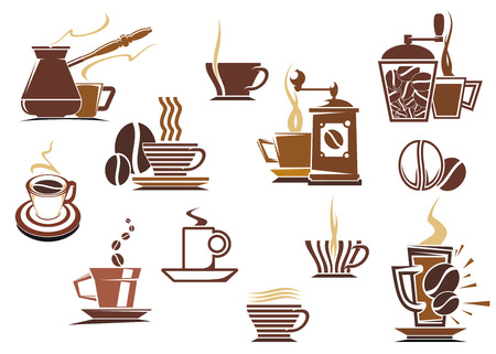 Various coffee icons in brown and white showing a coffee mill, percolator, cappuccino, latte, and assorted shaped mugs and cups of steaming coffee, vector illustration on white
