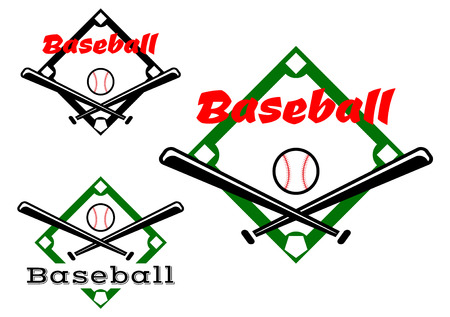baseball bat: Baseball labels or badges in two different designs showing crossed bats and ball over a pitch with text Baseball, vector illustration on white Illustration