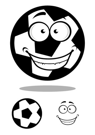 goofy: Happy black and white cartoon football or soccer ball with a goofy smile with a second plain variant with the face separate, vector illustration on white