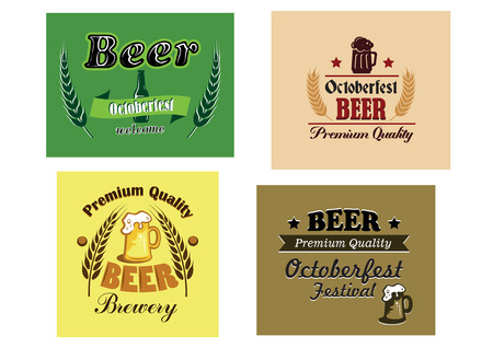 Beer advertising posters with various text and colors decorated with hops and bottles or tankards of beer, vector illustration Vector