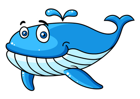 spout: Happy smiling blue cartoon whale character with a water spout, vector illustration isolated on white Illustration