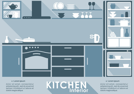 blue white kitchen: Kitchen interior in flat style for infographic template with a fitted kitchen with built in appliances and cabinets and kitchen utensils and crockery on shelves, vector illustration with space for text