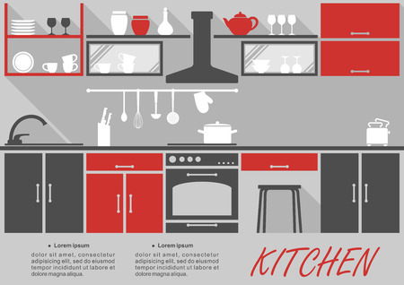 domestic kitchen: Kitchen interior decor infographic template with space for text showing fitted appliances and cabinets and shelves with kitchenware and crockery in grey and red Illustration
