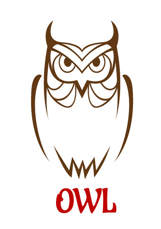 studious: Wise old owl vector sketch with a frontal outline view of an owl looking at the viewer with a studious expression Illustration