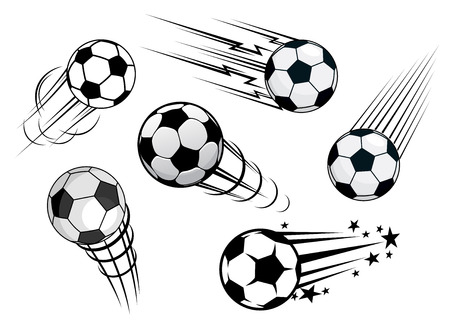 Speeding footballs or soccer balls set in black and white with various motion trails, vector illustration on white