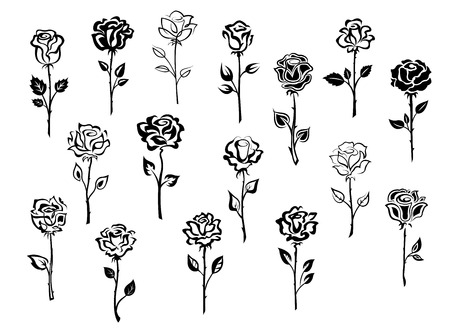 Black and white collection of rose icons in sketch style each one showing a different single long stemmed rose symbolic of love, vector illustration on white Ilustração