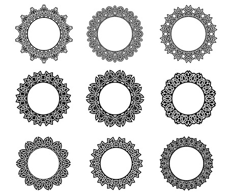 Round vintage frames in celtic style with intricate ornate calligraphic borders in black and white and central copyspace, vector illustration on white