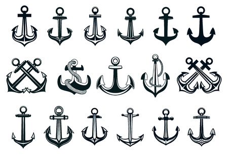 Heraldic set of ships anchor icons in black and white with assorted shapes, some with ropes and some pairs crossed for marine themes, vector illustration on white