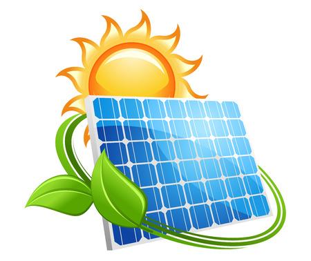 신선한 녹색 잎으로 둘러싸인 태양 광 패널 위에 황금 뜨거운 태양와 태양 전지 패널 아이콘 자연 자원에서 재생 가능 에너지의 개념, 화이트